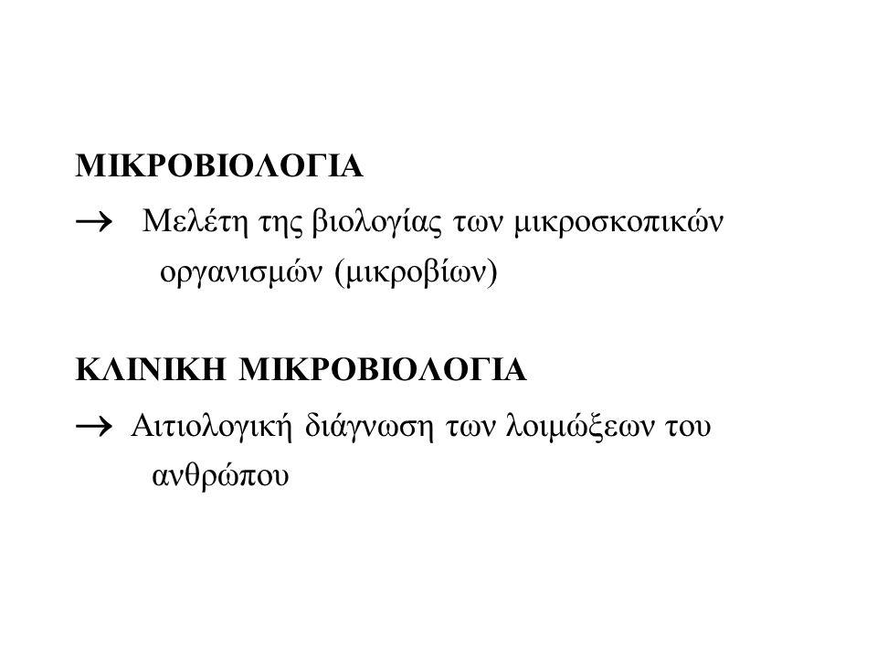 ΜΙΚΡΟΒΙΟΛΟΓΙΑ  Μελέτη της βιολογίας των μικροσκοπικών οργανισμών (μικροβίων) ΚΛΙΝΙΚΗ ΜΙΚΡΟΒΙΟΛΟΓΙΑ  Αιτιολογική διάγνωση των λοιμώξεων του ανθρώπου