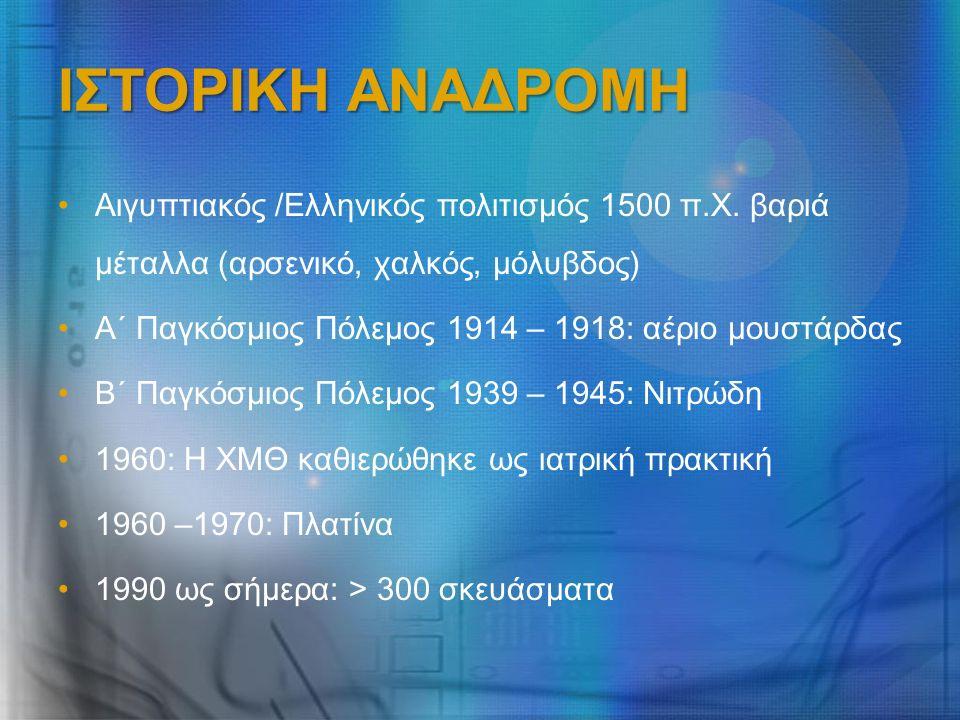 ΙΣΤΟΡΙΚΗ ΑΝΑΔΡΟΜΗ Αιγυπτιακός /Ελληνικός πολιτισμός 1500 π.Χ. βαριά μέταλλα (αρσενικό, χαλκός, μόλυβδος) Α΄ Παγκόσμιος Πόλεμος 1914 – 1918: αέριο μουσ