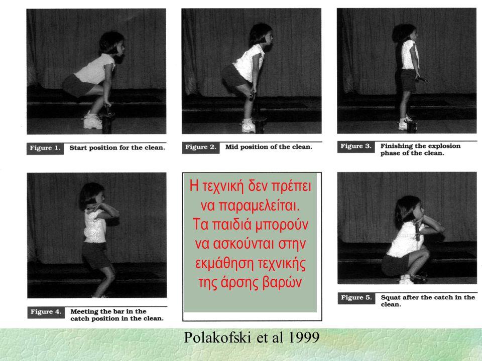 Η τεχνική δεν πρέπει να παραμελείται. Τα παιδιά μπορούν να ασκούνται στην εκμάθηση τεχνικής της άρσης βαρών Polakofski et al 1999