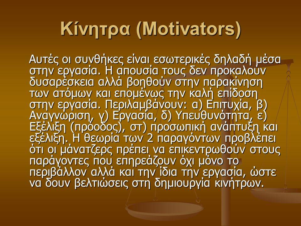 Κίνητρα (Motivators) Αυτές οι συνθήκες είναι εσωτερικές δηλαδή μέσα στην εργασία.
