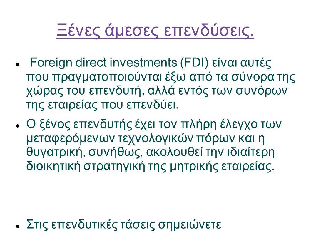 Ξένες άμεσες επενδύσεις.