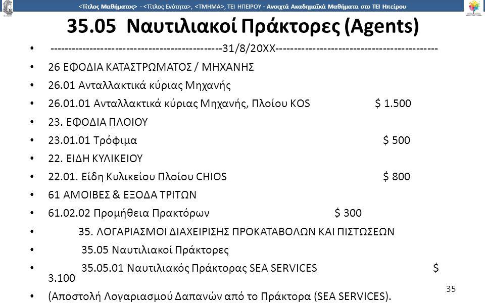 3535 -,, ΤΕΙ ΗΠΕΙΡΟΥ - Ανοιχτά Ακαδημαϊκά Μαθήματα στο ΤΕΙ Ηπείρου 35.05 Ναυτιλιακοί Πράκτορες (Agents) ----------------------------------------------
