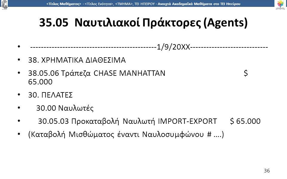 3636 -,, ΤΕΙ ΗΠΕΙΡΟΥ - Ανοιχτά Ακαδημαϊκά Μαθήματα στο ΤΕΙ Ηπείρου 35.05 Ναυτιλιακοί Πράκτορες (Agents) ----------------------------------------------