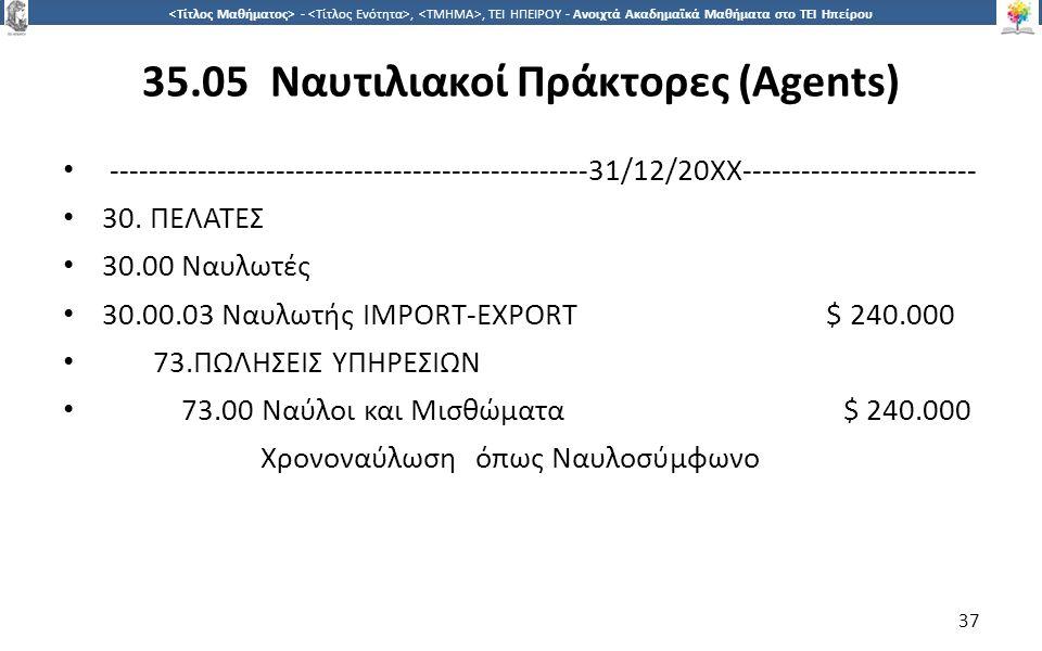 3737 -,, ΤΕΙ ΗΠΕΙΡΟΥ - Ανοιχτά Ακαδημαϊκά Μαθήματα στο ΤΕΙ Ηπείρου 35.05 Ναυτιλιακοί Πράκτορες (Agents) ----------------------------------------------