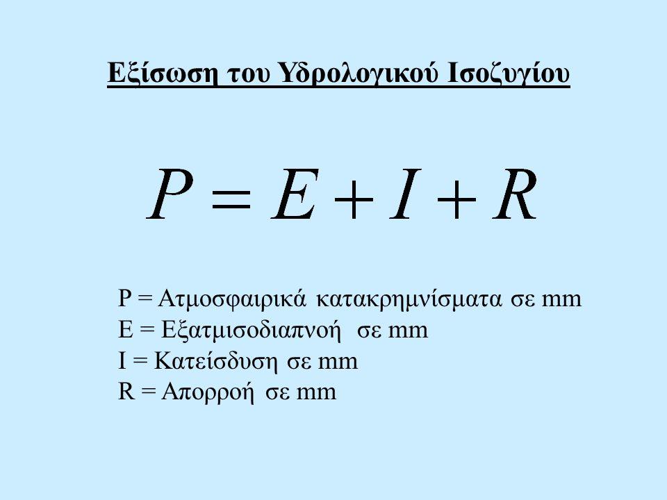 P = Ατμοσφαιρικά κατακρημνίσματα σε mm Ε = Εξατμισοδιαπνοή σε mm I = Κατείσδυση σε mm R = Απορροή σε mm Εξίσωση του Υδρολογικού Ισοζυγίου