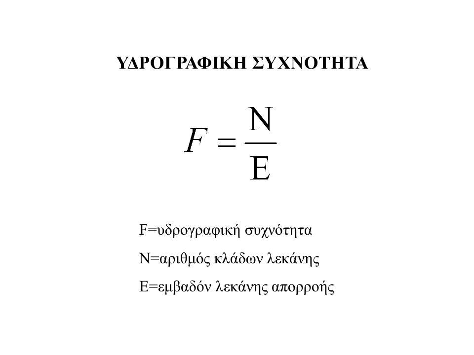 F=υδρογραφική συχνότητα N=αριθμός κλάδων λεκάνης Ε=εμβαδόν λεκάνης απορροής ΥΔΡΟΓΡΑΦΙΚΗ ΣΥΧΝΟΤΗΤΑ