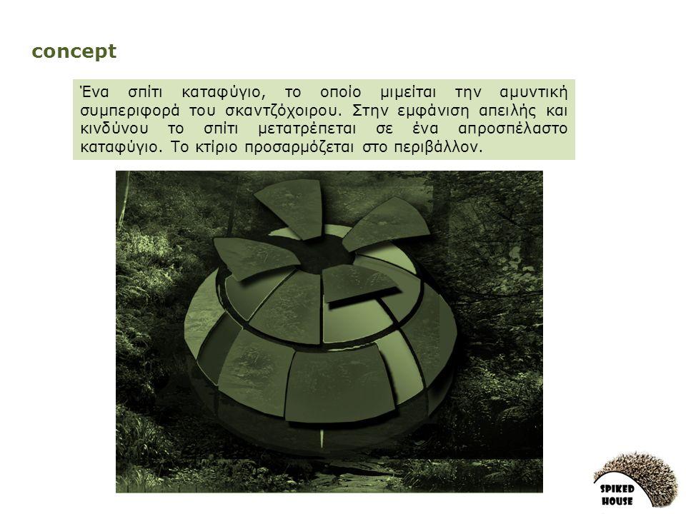 concept Ένα σπίτι καταφύγιο, το οποίο μιμείται την αμυντική συμπεριφορά του σκαντζόχοιρου.