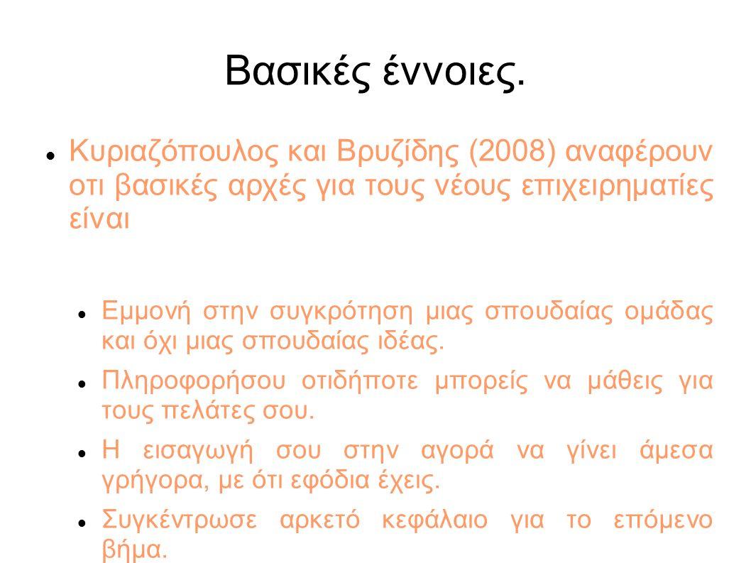 Βασικές έννοιες. Κυριαζόπουλος και Βρυζίδης (2008) αναφέρουν οτι βασικές αρχές για τους νέους επιχειρηματίες είναι Εμμονή στην συγκρότηση μιας σπουδαί