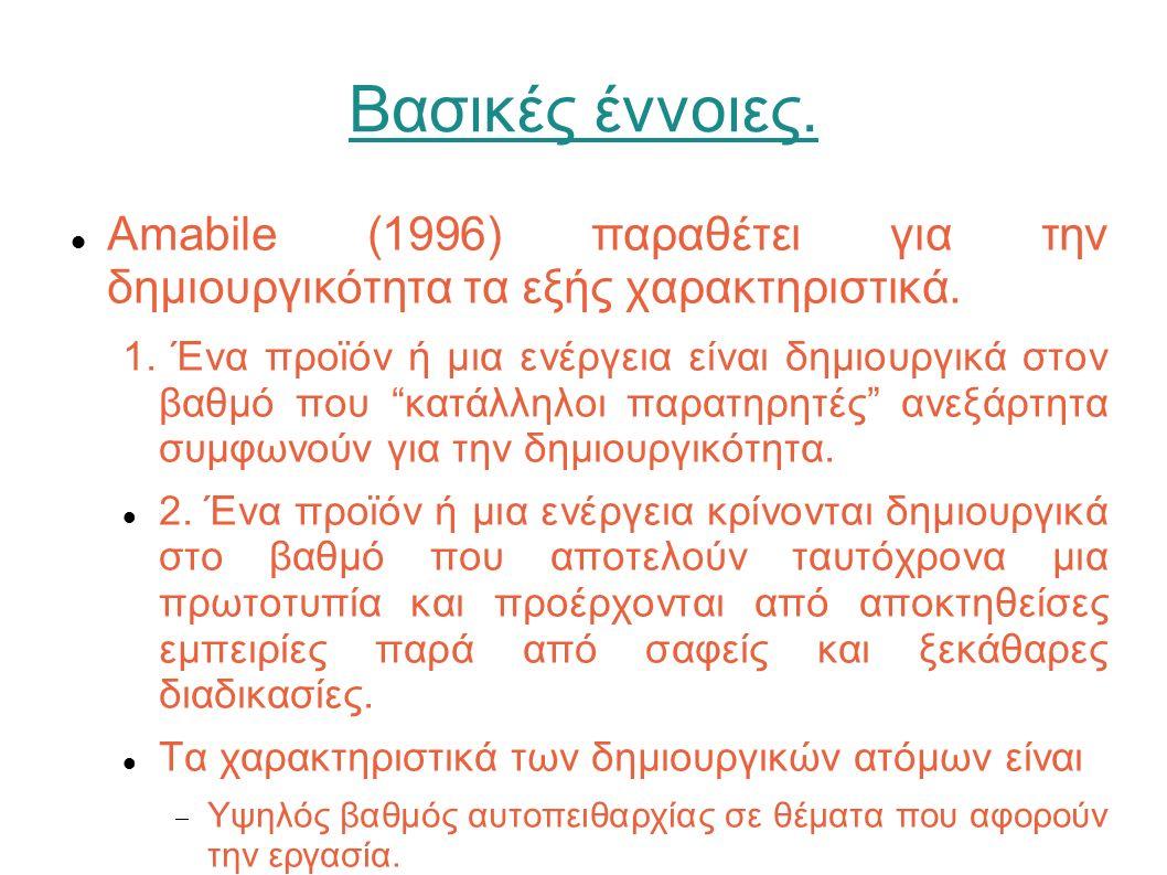 Βασικές έννοιες. Amabile (1996) παραθέτει για την δημιουργικότητα τα εξής χαρακτηριστικά. 1. Ένα προϊόν ή μια ενέργεια είναι δημιουργικά στον βαθμό πο