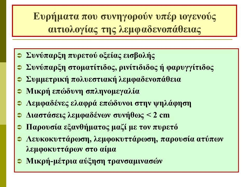 Ευρήματα που συνηγορούν υπέρ ιογενούς αιτιολογίας της λεμφαδενοπάθειας  Συνύπαρξη πυρετού οξείας εισβολής  Συνύπαρξη στοματίτιδος, ρινίτιδιδος ή φαρυγγίτιδος  Συμμετρική πολυεστιακή λεμφαδενοπάθεια  Μικρή επώδυνη σπληνομεγαλία  Λεμφαδένες ελαφρά επώδυνοι στην ψηλάφηση  Διαστάσεις λεμφαδένων συνήθως < 2 cm  Παρουσία εξανθήματος μαζί με τον πυρετό  Λευκοκυττάρωση, λεμφοκυττάρωση, παρουσία ατύπων λεμφοκυττάρων στο αίμα  Μικρή-μέτρια αύξηση τρανσαμινασών