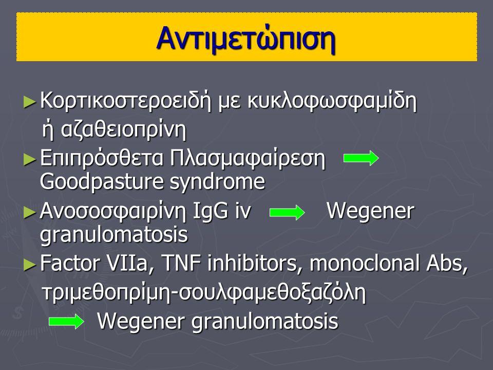 Αντιμετώπιση ► Κορτικοστεροειδή με κυκλοφωσφαμίδη ή αζαθειοπρίνη ή αζαθειοπρίνη ► Επιπρόσθετα Πλασμαφαίρεση Goodpasture syndrome ► Ανοσοσφαιρίνη IgG iv Wegener granulomatosis ► Factor VIIa, TNF inhibitors, monoclonal Abs, τριμεθοπρίμη-σουλφαμεθοξαζόλη τριμεθοπρίμη-σουλφαμεθοξαζόλη Wegener granulomatosis Wegener granulomatosis