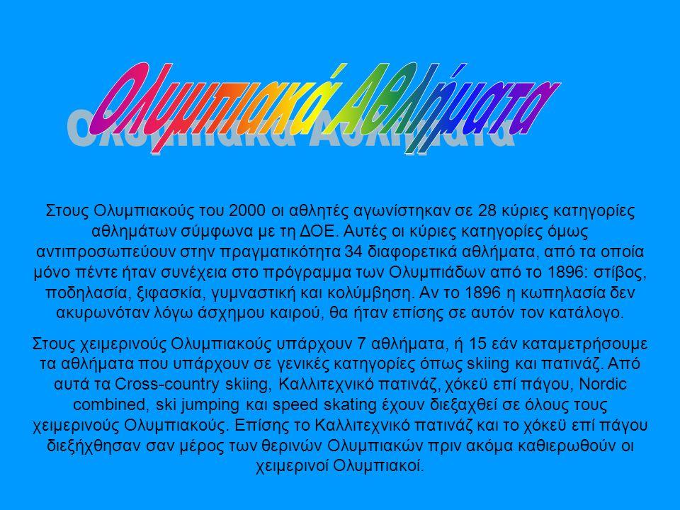 Στους Ολυμπιακούς του 2000 οι αθλητές αγωνίστηκαν σε 28 κύριες κατηγορίες αθλημάτων σύμφωνα με τη ΔΟΕ.