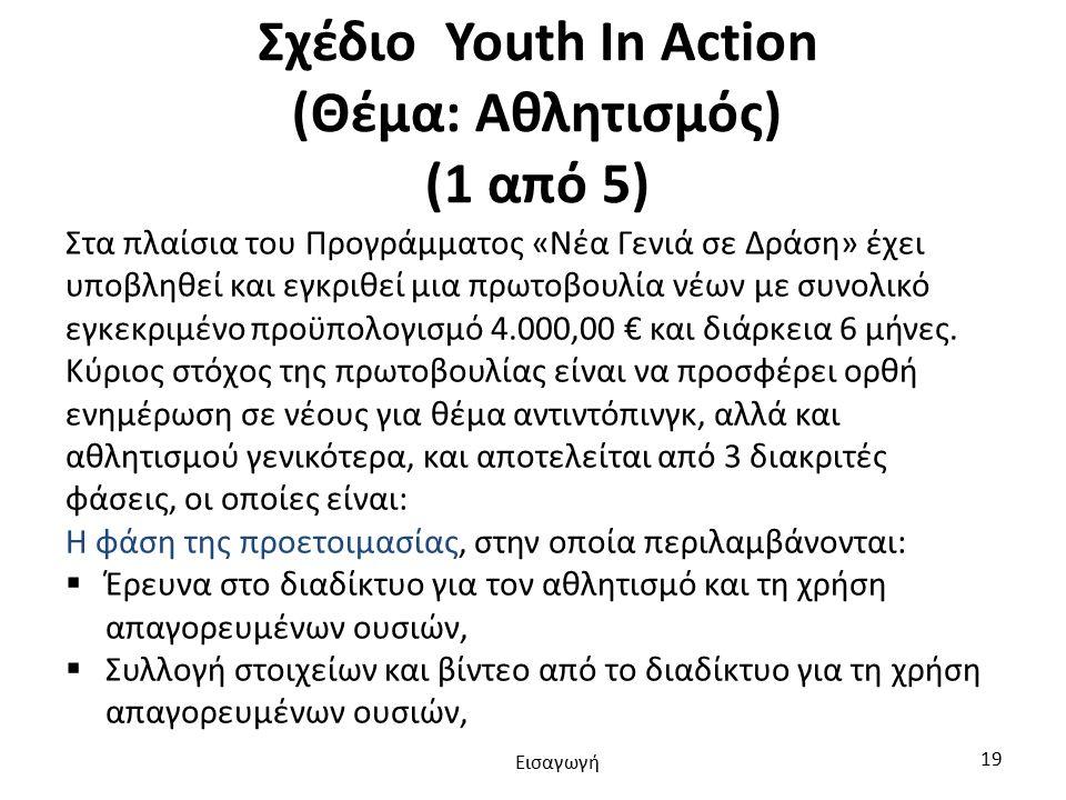 Σχέδιο Youth In Action (Θέμα: Αθλητισμός) (1 από 5) Στα πλαίσια του Προγράμματος «Νέα Γενιά σε Δράση» έχει υποβληθεί και εγκριθεί μια πρωτοβουλία νέων με συνολικό εγκεκριμένο προϋπολογισμό 4.000,00 € και διάρκεια 6 μήνες.