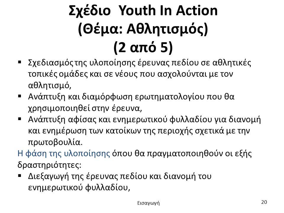 Σχέδιο Youth In Action (Θέμα: Αθλητισμός) (2 από 5)  Σχεδιασμός της υλοποίησης έρευνας πεδίου σε αθλητικές τοπικές ομάδες και σε νέους που ασχολούνται με τον αθλητισμό,  Ανάπτυξη και διαμόρφωση ερωτηματολογίου που θα χρησιμοποιηθεί στην έρευνα,  Ανάπτυξη αφίσας και ενημερωτικού φυλλαδίου για διανομή και ενημέρωση των κατοίκων της περιοχής σχετικά με την πρωτοβουλία.