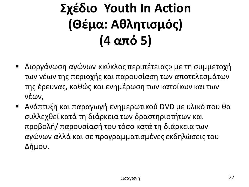 Σχέδιο Youth In Action (Θέμα: Αθλητισμός) (4 από 5)  Διοργάνωση αγώνων «κύκλος περιπέτειας» με τη συμμετοχή των νέων της περιοχής και παρουσίαση των αποτελεσμάτων της έρευνας, καθώς και ενημέρωση των κατοίκων και των νέων,  Ανάπτυξη και παραγωγή ενημερωτικού DVD με υλικό που θα συλλεχθεί κατά τη διάρκεια των δραστηριοτήτων και προβολή/ παρουσίασή του τόσο κατά τη διάρκεια των αγώνων αλλά και σε προγραμματισμένες εκδηλώσεις του Δήμου.