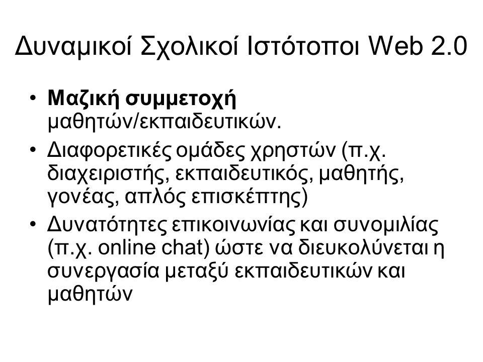 Δυναμικοί Σχολικοί Ιστότοποι Web 2.0 Μαζική συμμετοχή μαθητών/εκπαιδευτικών. Διαφορετικές ομάδες χρηστών (π.χ. διαχειριστής, εκπαιδευτικός, μαθητής, γ