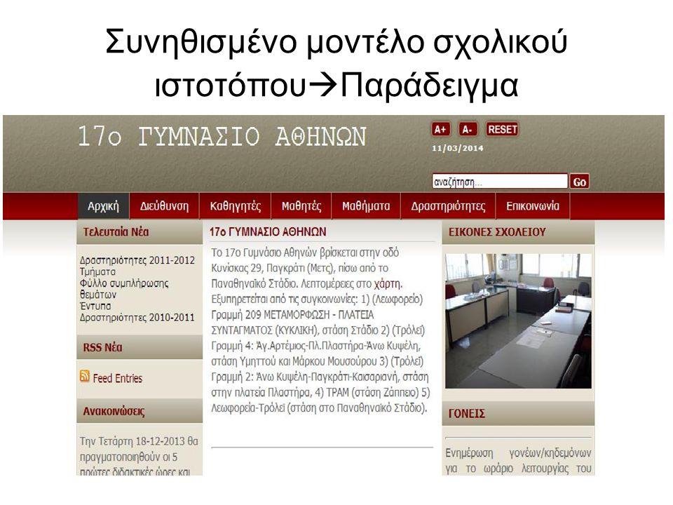Συνηθισμένο μοντέλο σχολικού ιστοτόπου  Παράδειγμα