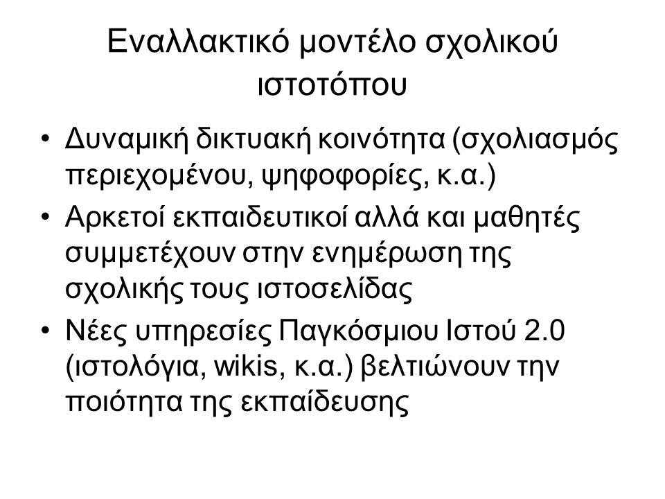 Εναλλακτικό μοντέλο σχολικού ιστοτόπου  Παραδείγματα 3 ο Γυμνάσιο Μυτιλήνης (σχολική εφημερίδα)3 ο Γυμνάσιο Μυτιλήνης 1 ο ΕΠΑΛ Γλυφάδας (wiki με σχολικά θέματα)1 ο ΕΠΑΛ Γλυφάδας Πειραματικό Λύκειο Μυτιλήνης (μαθητικό ραδιόφωνο)Πειραματικό Λύκειο Μυτιλήνης