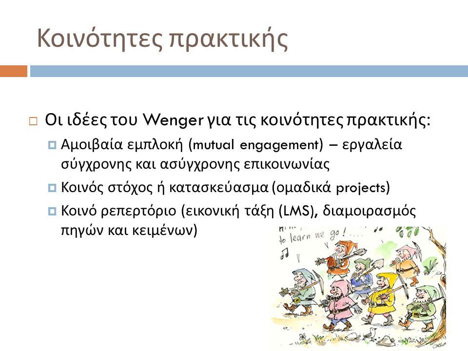 Κοινότητες πρακτικής  Οι ιδέες του Wenger για τις κοινότητες πρακτικής :  Αμοιβαία εμπλοκή (mutual engagement) – εργαλεία σύγχρονης και ασύγχρονης επικοινωνίας  Κοινός στόχος ή κατασκεύασμα ( ομαδικά projects)  Κοινό ρεπερτόριο ( εικονική τάξη (LMS), διαμοιρασμός πηγών και κειμένων )