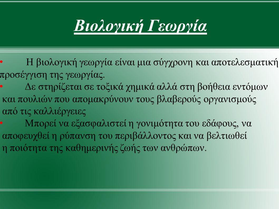 Βιολογική Γεωργία Η βιολογική γεωργία είναι μια σύγχρονη και αποτελεσματική προσέγγιση της γεωργίας.
