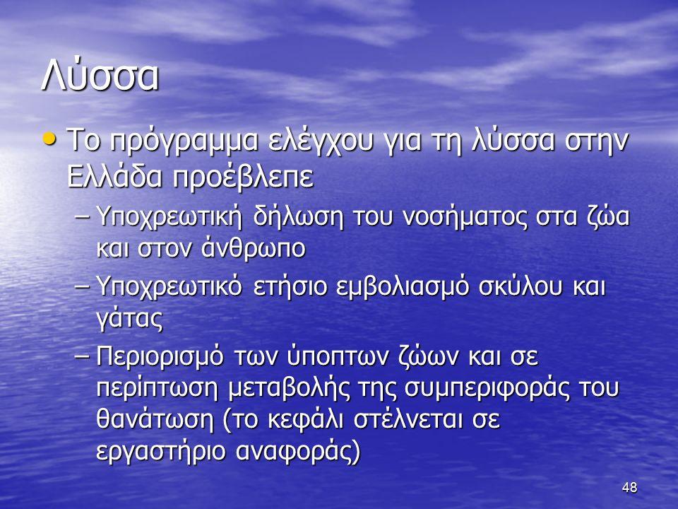 Λύσσα Το πρόγραμμα ελέγχου για τη λύσσα στην Ελλάδα προέβλεπε Το πρόγραμμα ελέγχου για τη λύσσα στην Ελλάδα προέβλεπε –Υποχρεωτική δήλωση του νοσήματος στα ζώα και στον άνθρωπο –Υποχρεωτικό ετήσιο εμβολιασμό σκύλου και γάτας –Περιορισμό των ύποπτων ζώων και σε περίπτωση μεταβολής της συμπεριφοράς του θανάτωση (το κεφάλι στέλνεται σε εργαστήριο αναφοράς) 48