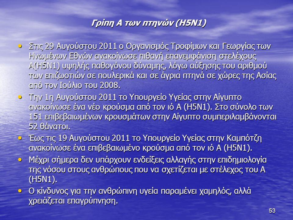 53 Γρίπη Α των πτηνών (H5N1) Στις 29 Αυγούστου 2011 ο Οργανισμός Τροφίμων και Γεωργίας των Ηνωμένων Εθνών ανακοίνωσε πιθανή επανεμφάνιση στελέχους Α(Η5Ν1) υψηλής παθογόνου δύναμης, λόγω αύξησης του αριθμού των επιζωοτιών σε πουλερικά και σε άγρια πτηνά σε χώρες της Ασίας από τον Ιούλιο του 2008.