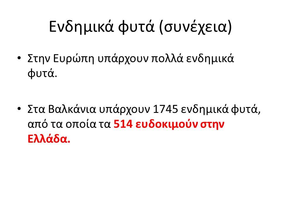 Ενδημικά φυτά (συνέχεια) Στην Ευρώπη υπάρχουν πολλά ενδημικά φυτά. Στα Βαλκάνια υπάρχουν 1745 ενδημικά φυτά, από τα οποία τα 514 ευδοκιμούν στην Ελλάδ