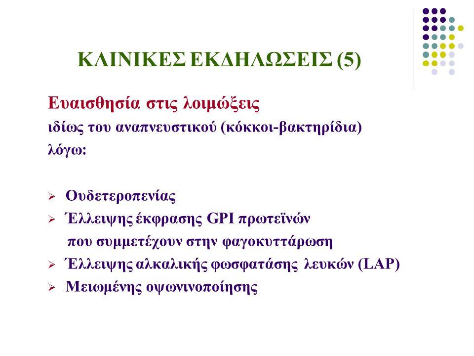 ΚΛΙΝΙΚΕΣ ΕΚΔΗΛΩΣΕΙΣ (5) Ευαισθησία στις λοιμώξεις ιδίως του αναπνευστικού (κόκκοι-βακτηρίδια) λόγω:  Ουδετεροπενίας  Έλλειψης έκφρασης GPI πρωτεϊνών