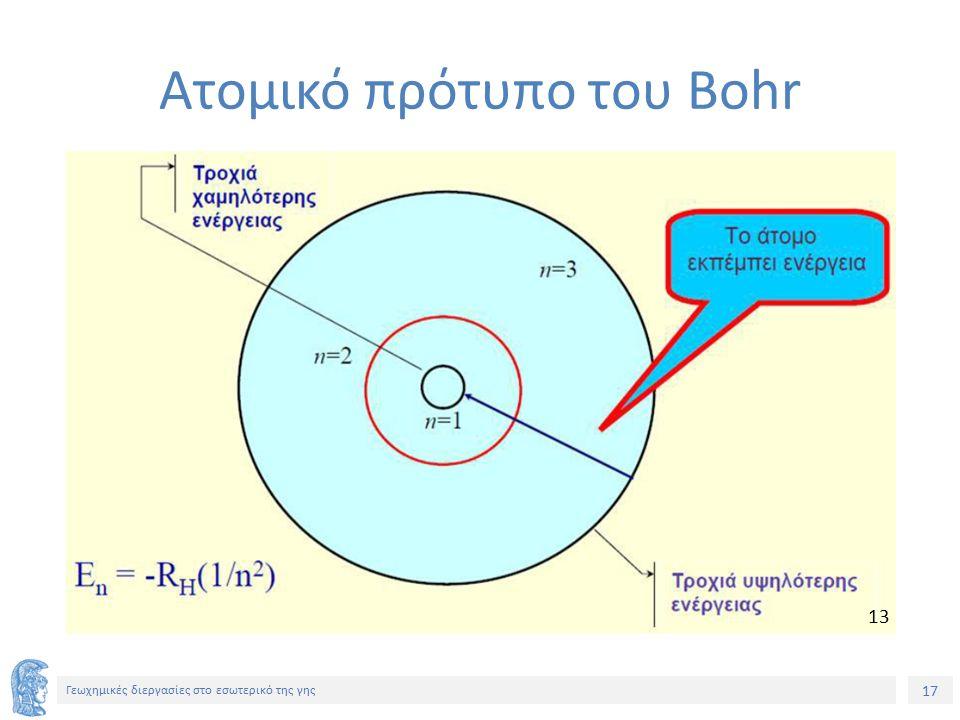17 Γεωχημικές διεργασίες στο εσωτερικό της γης Ατομικό πρότυπο του Bohr 13