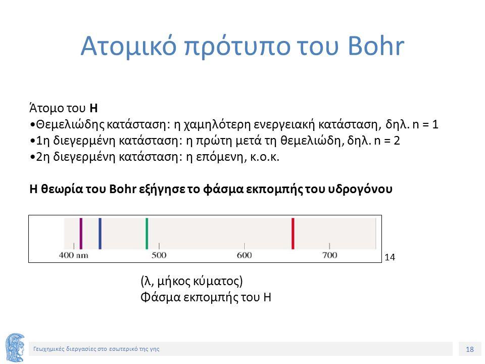 18 Γεωχημικές διεργασίες στο εσωτερικό της γης Ατομικό πρότυπο του Bohr Άτομο του Η Θεμελιώδης κατάσταση: η χαμηλότερη ενεργειακή κατάσταση, δηλ.