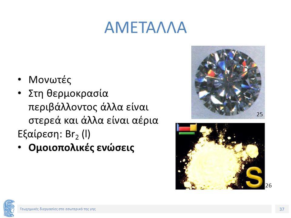 37 Γεωχημικές διεργασίες στο εσωτερικό της γης ΑΜΕΤΑΛΛΑ Μονωτές Στη θερμοκρασία περιβάλλοντος άλλα είναι στερεά και άλλα είναι αέρια Εξαίρεση: Br 2 (l) Ομοιοπολικές ενώσεις 25 26