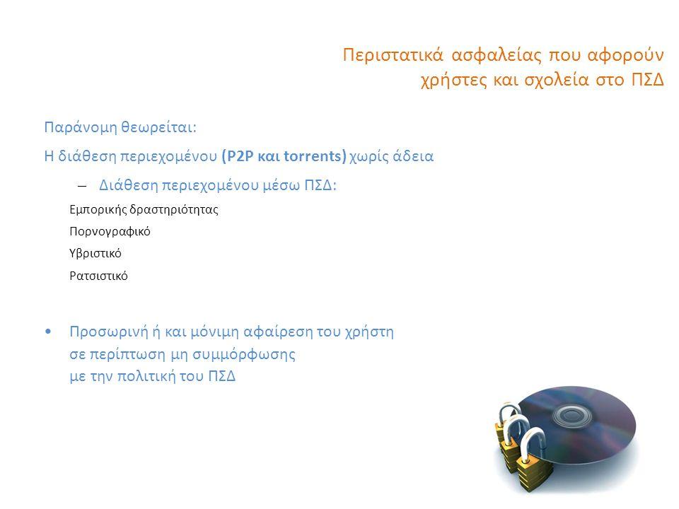 Περιστατικά ασφαλείας που αφορούν χρήστες και σχολεία στο ΠΣΔ Παράνομη θεωρείται: Η διάθεση περιεχομένου (P2P και torrents) χωρίς άδεια – Διάθεση περιεχομένου μέσω ΠΣΔ: Εμπορικής δραστηριότητας Πορνογραφικό Υβριστικό Ρατσιστικό Προσωρινή ή και μόνιμη αφαίρεση του χρήστη σε περίπτωση μη συμμόρφωσης με την πολιτική του ΠΣΔ 12