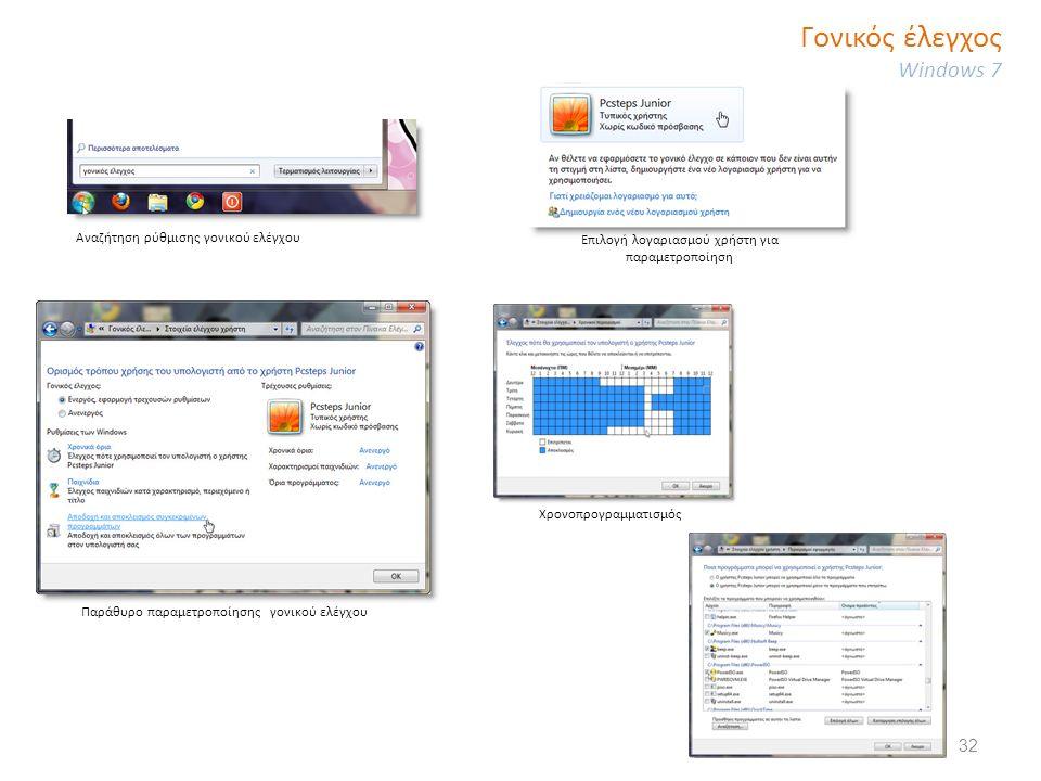 Γονικός έλεγχος Windows 7 Αναζήτηση ρύθμισης γονικού ελέγχου Επιλογή λογαριασμού χρήστη για παραμετροποίηση Παράθυρο παραμετροποίησης γονικού ελέγχου Χρονοπρογραμματισμός 32