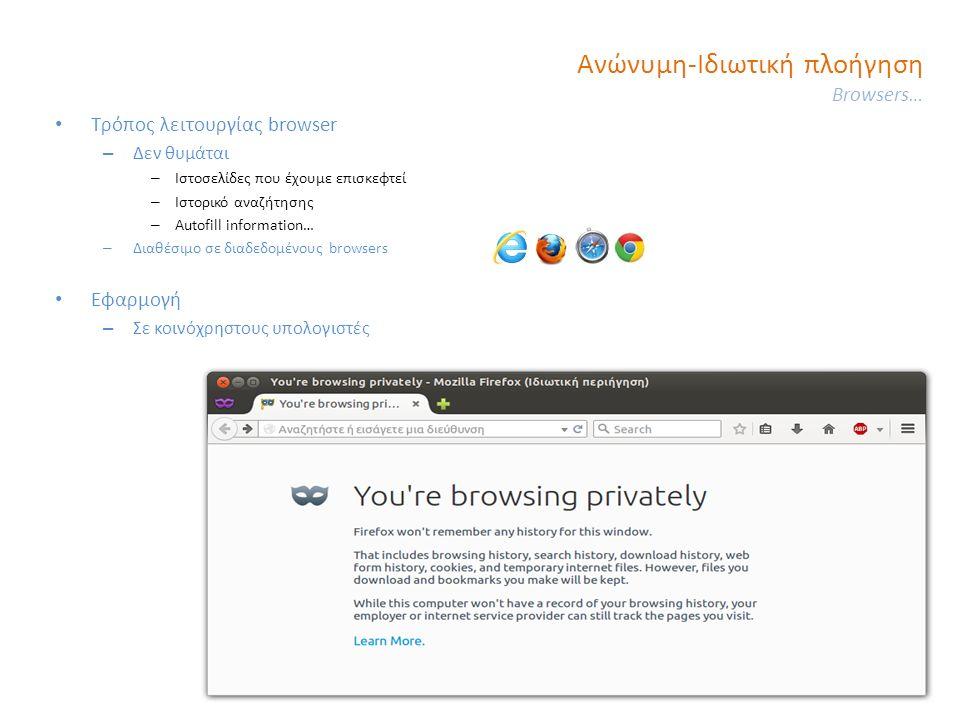 Ανώνυμη-Ιδιωτική πλοήγηση Browsers… Τρόπος λειτουργίας browser – Δεν θυμάται – Ιστοσελίδες που έχουμε επισκεφτεί – Ιστορικό αναζήτησης – Autofill information… – Διαθέσιμο σε διαδεδομένους browsers Εφαρμογή – Σε κοινόχρηστους υπολογιστές