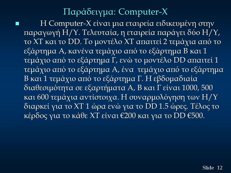 12 Slide Παράδειγμα: Compute Παράδειγμα: Computer-X n Η Computer-X είναι μια εταιρεία ειδικευμένη στην παραγωγή H/Y.