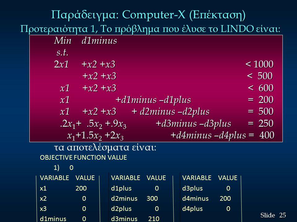 25 Slide Προτεραιότητα 1, Το πρόβλημα που έλυσε το LINDO είναι: Min d1minus s.t.