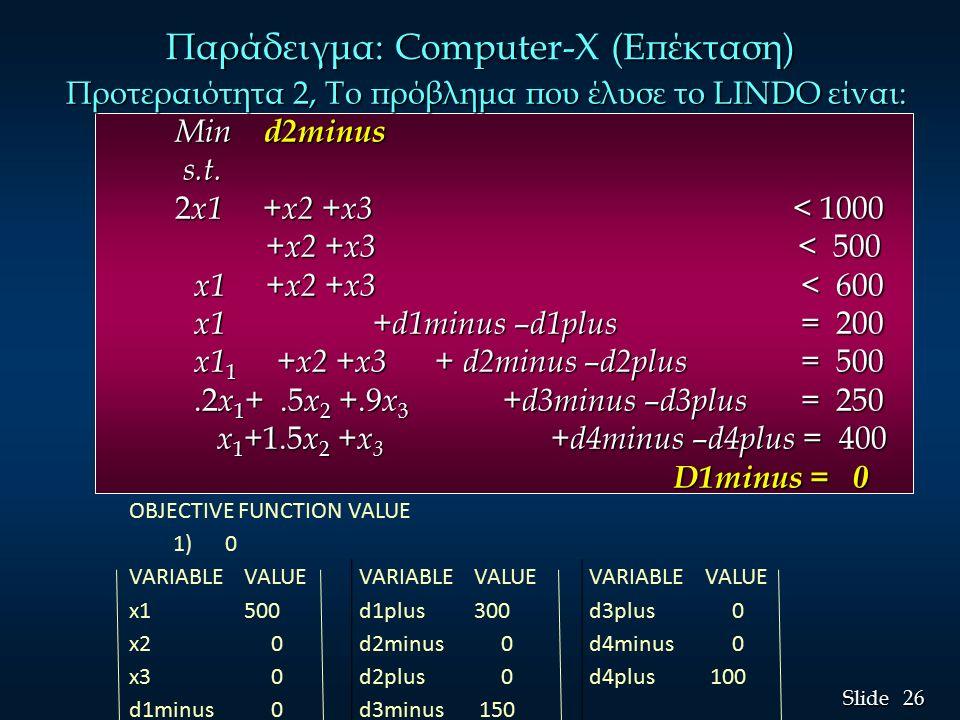 26 Slide Προτεραιότητα 2, Το πρόβλημα που έλυσε το LINDO είναι: Min d2minus s.t.