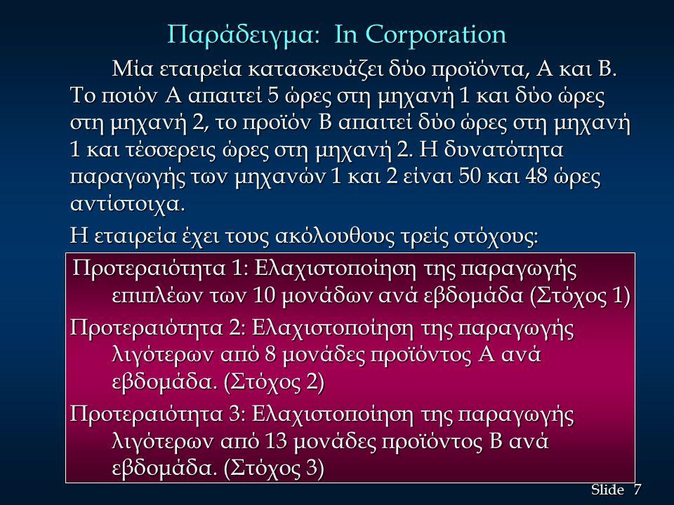 7 7 Slide Παράδειγμα: In Corporation Μία εταιρεία κατασκευάζει δύο προϊόντα, A και B.