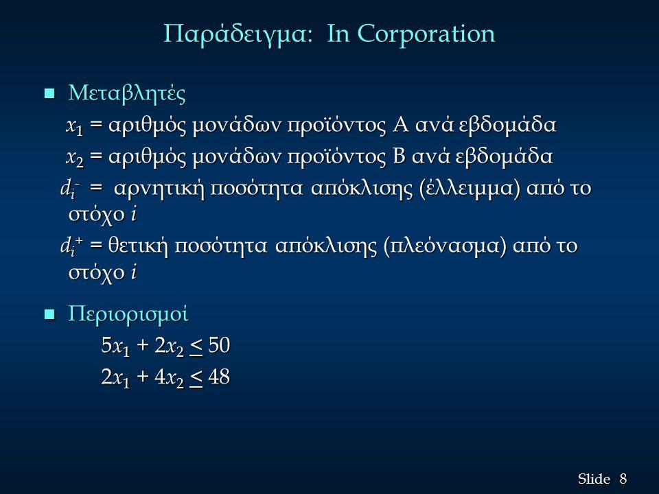 8 8 Slide Παράδειγμα: In Corporation n Μεταβλητές x 1 = αριθμός μονάδων προϊόντος A ανά εβδομάδα x 1 = αριθμός μονάδων προϊόντος A ανά εβδομάδα x 2 = αριθμός μονάδων προϊόντος Β ανά εβδομάδα x 2 = αριθμός μονάδων προϊόντος Β ανά εβδομάδα d i - = αρνητική ποσότητα απόκλισης (έλλειμμα) από το στόχο i d i - = αρνητική ποσότητα απόκλισης (έλλειμμα) από το στόχο i d i + = θετική ποσότητα απόκλισης (πλεόνασμα) από το στόχο i d i + = θετική ποσότητα απόκλισης (πλεόνασμα) από το στόχο i n Περιορισμοί 5 x 1 + 2 x 2 < 50 5 x 1 + 2 x 2 < 50 2 x 1 + 4 x 2 < 48 2 x 1 + 4 x 2 < 48