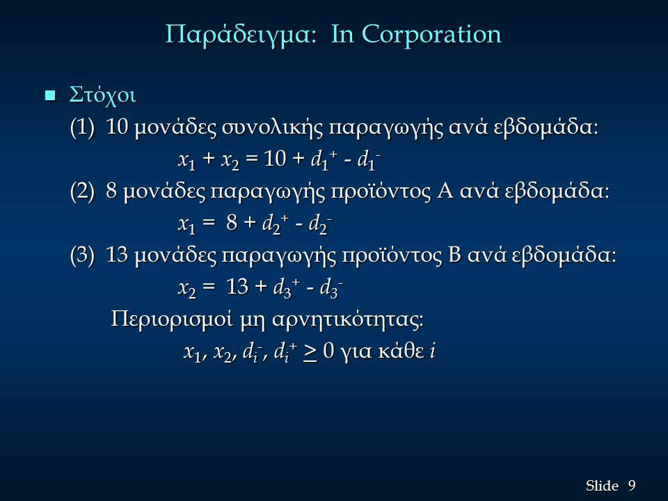 9 9 Slide Παράδειγμα: In Corporation n Στόχοι (1) 10 μονάδες συνολικής παραγωγής ανά εβδομάδα: x 1 + x 2 = 10 + d 1 + - d 1 - (2) 8 μονάδες παραγωγής προϊόντος A ανά εβδομάδα: (2) 8 μονάδες παραγωγής προϊόντος A ανά εβδομάδα: x 1 = 8 + d 2 + - d 2 - x 1 = 8 + d 2 + - d 2 - (3) 13 μονάδες παραγωγής προϊόντος B ανά εβδομάδα: (3) 13 μονάδες παραγωγής προϊόντος B ανά εβδομάδα: x 2 = 13 + d 3 + - d 3 - x 2 = 13 + d 3 + - d 3 - Περιορισμοί μη αρνητικότητας: Περιορισμοί μη αρνητικότητας: x 1, x 2, d i -, d i + > 0 για κάθε i x 1, x 2, d i -, d i + > 0 για κάθε i
