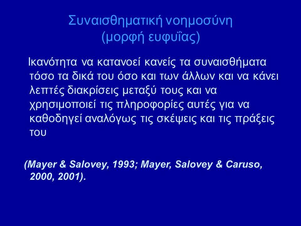 Συναισθηματική νοημοσύνη (μορφή ευφυΐας) Ικανότητα να κατανοεί κανείς τα συναισθήματα τόσο τα δικά του όσο και των άλλων και να κάνει λεπτές διακρίσεις μεταξύ τους και να χρησιμοποιεί τις πληροφορίες αυτές για να καθοδηγεί αναλόγως τις σκέψεις και τις πράξεις του (Mayer & Salovey, 1993; Mayer, Salovey & Caruso, 2000, 2001).