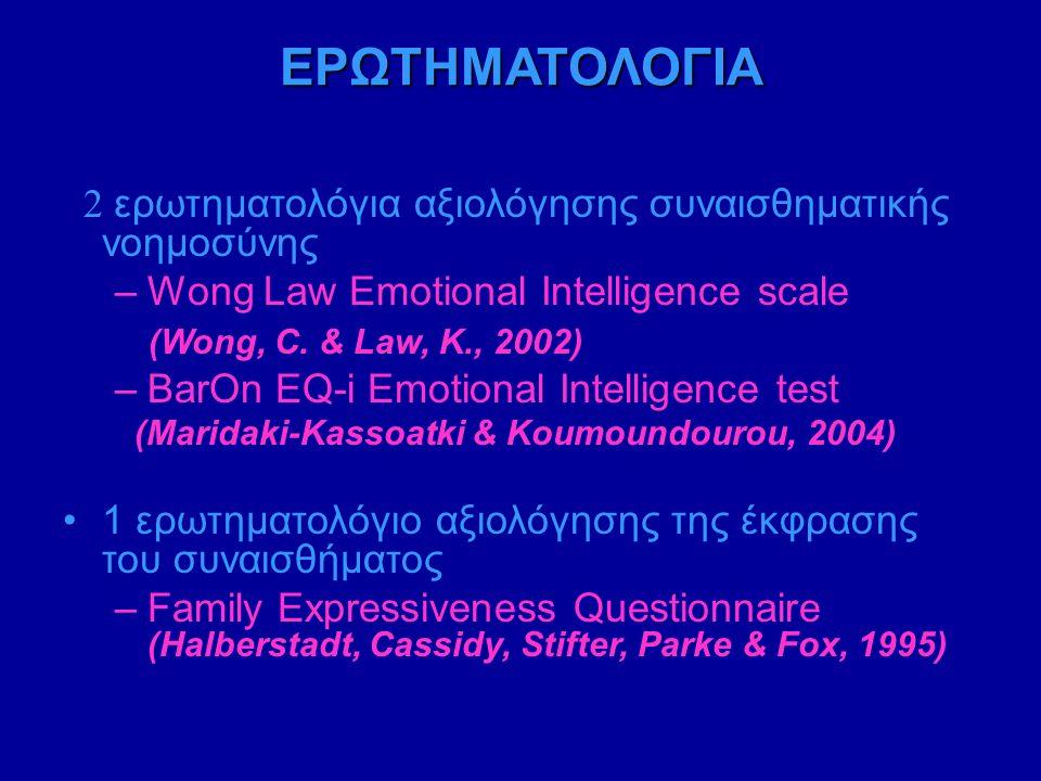 ΕΡΩΤΗΜΑΤΟΛΟΓΙΑ 2 ερωτηματολόγια αξιολόγησης συναισθηματικής νοημοσύνης –Wong Law Emotional Intelligence scale (Wong, C.