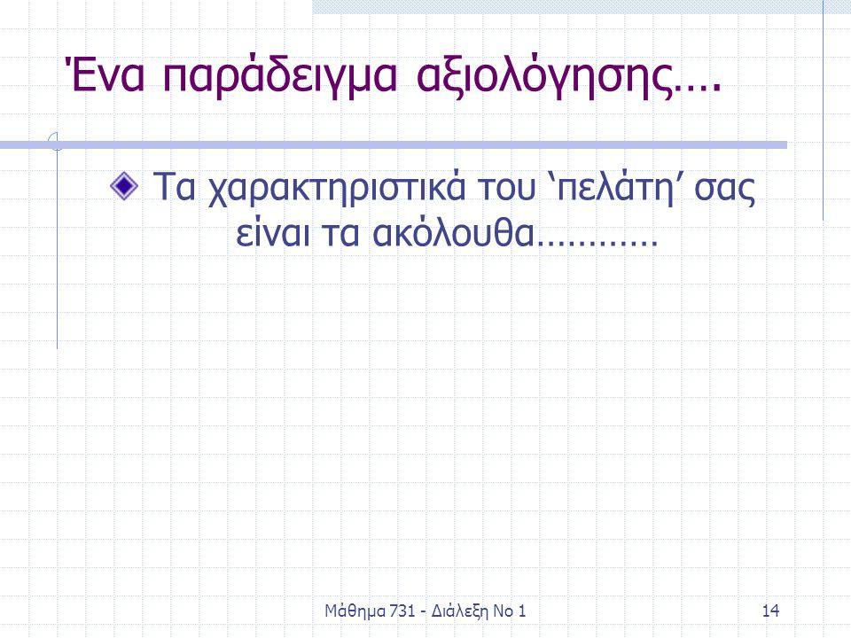 Μάθημα 731 - Διάλεξη Νο 114 Ένα παράδειγμα αξιολόγησης…. Τα χαρακτηριστικά του 'πελάτη' σας είναι τα ακόλουθα…………