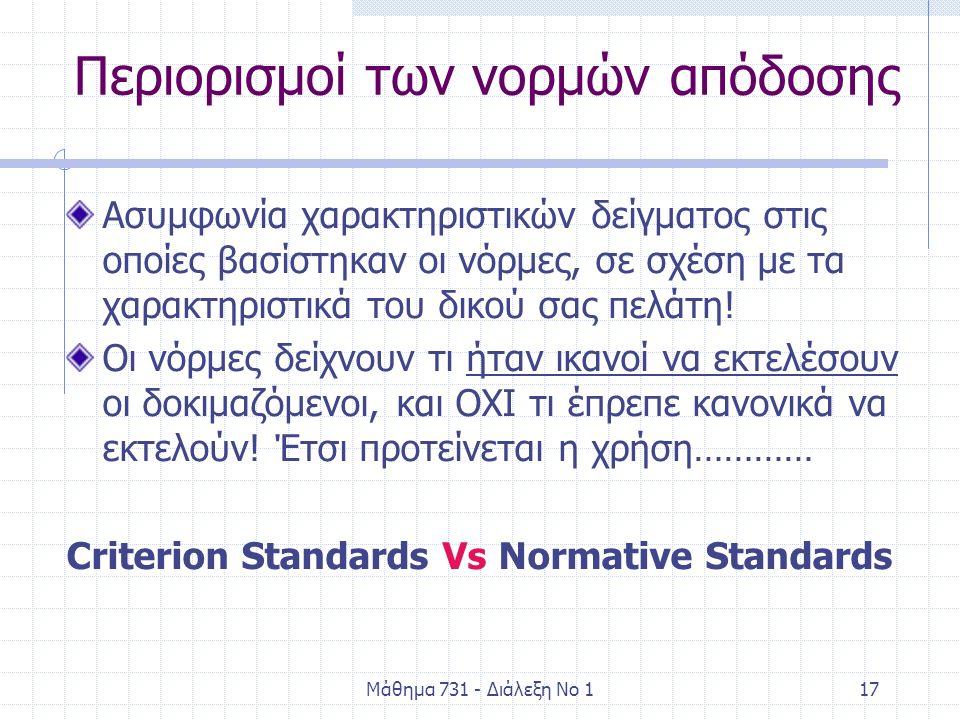 Μάθημα 731 - Διάλεξη Νο 117 Περιορισμοί των νορμών απόδοσης Ασυμφωνία χαρακτηριστικών δείγματος στις οποίες βασίστηκαν οι νόρμες, σε σχέση με τα χαρακτηριστικά του δικού σας πελάτη.