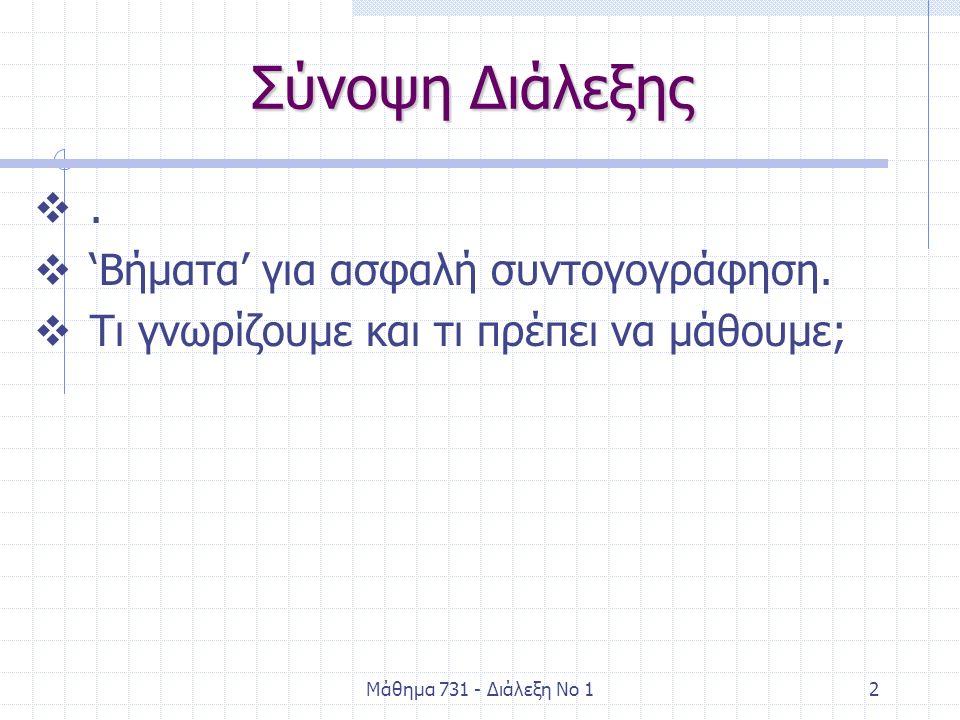 Μάθημα 731 - Διάλεξη Νο 12 Σύνοψη Διάλεξης .  'Βήματα' για ασφαλή συντογογράφηση.  Τι γνωρίζουμε και τι πρέπει να μάθουμε;