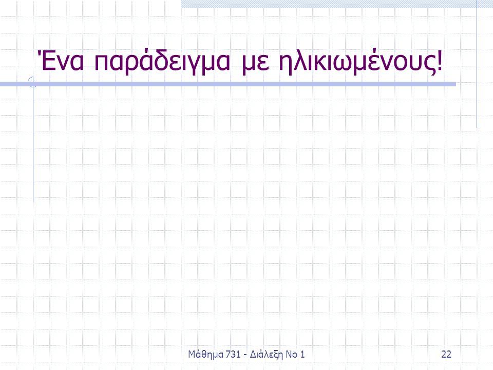 Μάθημα 731 - Διάλεξη Νο 122 Ένα παράδειγμα με ηλικιωμένους!