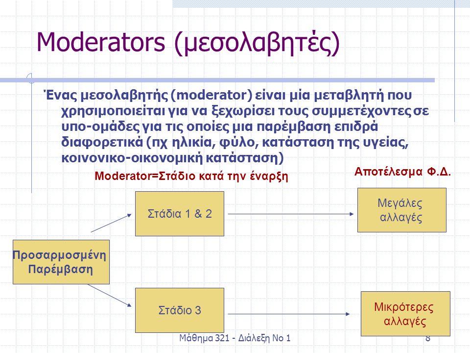 Μάθημα 321 - Διάλεξη Νο 18 Moderators (μεσολαβητές) Ένας μεσολαβητής (moderator) είναι μία μεταβλητή που χρησιμοποιείται για να ξεχωρίσει τους συμμετέχοντες σε υπο-ομάδες για τις οποίες μια παρέμβαση επιδρά διαφορετικά (πχ ηλικία, φύλο, κατάσταση της υγείας, κοινονικο-οικονομική κατάσταση) Προσαρμοσμένη Παρέμβαση Μικρότερες αλλαγές Στάδια 1 & 2 Στάδιο 3 Μεγάλες αλλαγές Moderator=Στάδιο κατά την έναρξη Αποτέλεσμα Φ.Δ.