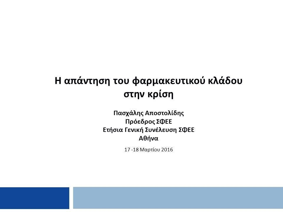 Η απάντηση του φαρμακευτικού κλάδου στην κρίση Πασχάλης Αποστολίδης Πρόεδρος ΣΦΕΕ Ετήσια Γενική Συνέλευση ΣΦΕΕ Αθήνα 17 -18 Μαρτίου 2016