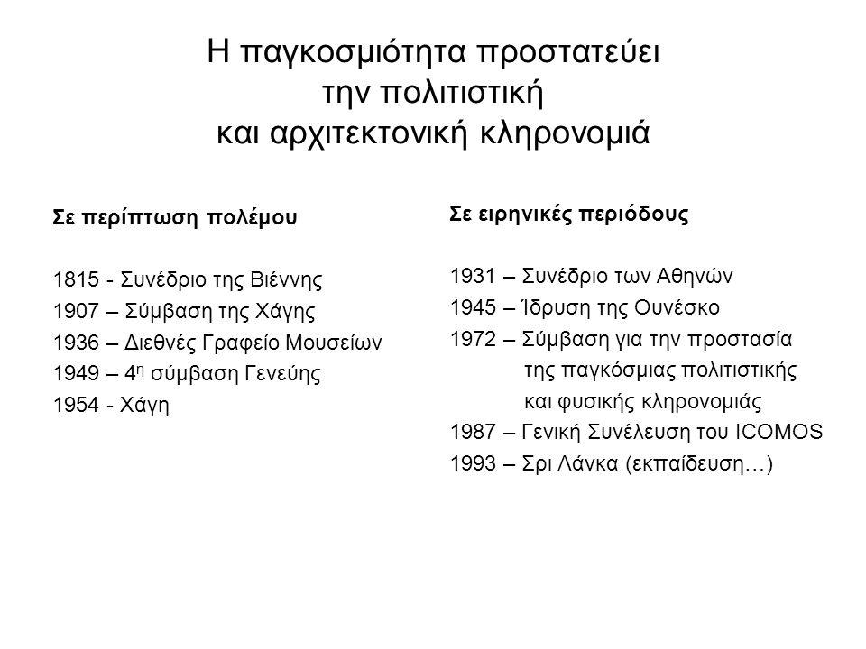 Η παγκοσμιότητα προστατεύει την πολιτιστική και αρχιτεκτονική κληρονομιά Σε περίπτωση πολέμου 1815 - Συνέδριο της Βιέννης 1907 – Σύμβαση της Χάγης 1936 – Διεθνές Γραφείο Μουσείων 1949 – 4 η σύμβαση Γενεύης 1954 - Χάγη Σε ειρηνικές περιόδους 1931 – Συνέδριο των Αθηνών 1945 – Ίδρυση της Ουνέσκο 1972 – Σύμβαση για την προστασία της παγκόσμιας πολιτιστικής και φυσικής κληρονομιάς 1987 – Γενική Συνέλευση του ICOMOS 1993 – Σρι Λάνκα (εκπαίδευση…)