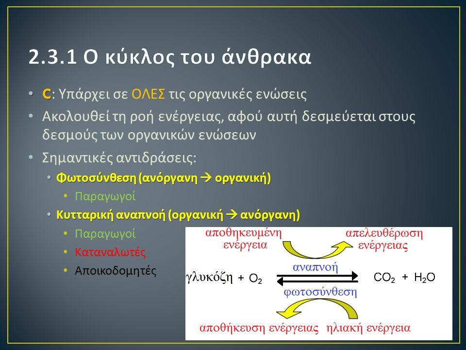 C C: Υπάρχει σε ΟΛΕΣ τις οργανικές ενώσεις Ακολουθεί τη ροή ενέργειας, αφού αυτή δεσμεύεται στους δεσμούς των οργανικών ενώσεων Σημαντικές αντιδράσεις